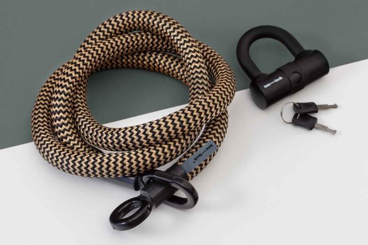 tex-lock eyelet gold/schwarz / M (120cm) + U-Lock